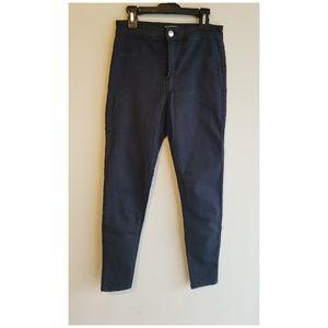 High waist dark blue pants